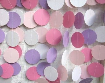 Pink and Purple Paper Circles Garland, Birthday Party, Photo Prop, Princess Party, Baby Shower, Bridal Shower, Cake Smash,Photo Prop