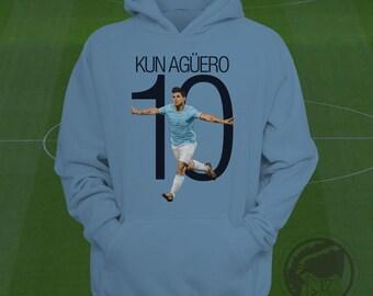Sergio Agüero 10 Hoodie - Manchester City Sweatshirt Custom Apparel Kun Agüero sweatshirt, Argentina legend, MCFC