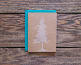 Pine Tree Letterpress Card FREE SHIPPING