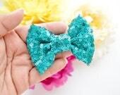 Mini Teal Sparkle Bow
