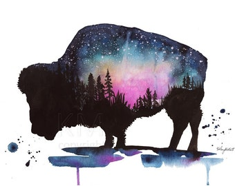 Watercolor Painting Print 'Beyond the Skies' -- Blue Home/office decor and wall art, Animal print of Bison, Galaxy art