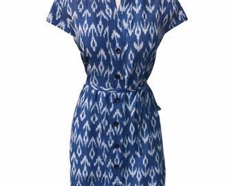 Cobalt Blue Button Up Dress: Fair Trade & Eco- Friendly