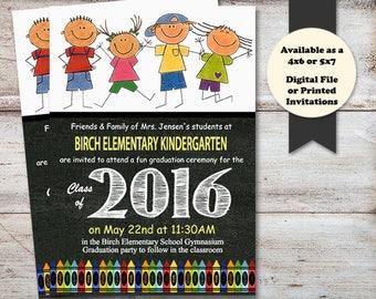 Kindergarten Graduation Announcement, Preschool GRADUATION Announcement, Graduation Invitations Printed or Digital File, Pre-Kindergarten