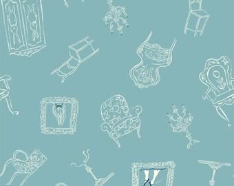Wonderland - Down the Rabbit Hole(Blue Background) - Emily Isabella - Birch Organic Fabrics