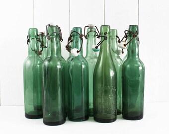 Vintage Green Glass Bottles, Vintage Glass Bottles Decor, Old Bottles Centerpiece, Decorative Bottles Prop, Wedding Bottles Favor - E386