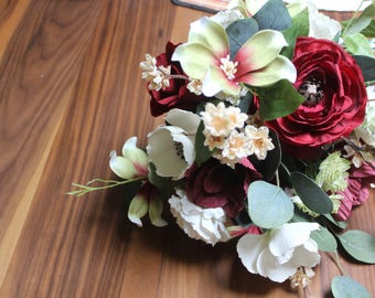 Red and green paper and artificial flower bridal bouquet | Wedding flowers