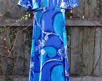 Tori Richard Honolulu 70's Maxi Dress - Vintage Tori Richard Waves Dress - Tori Richard Floral Flutter Sleeve Maxi Dress - Hawaiian Dress