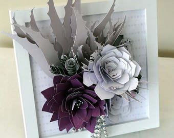 Paper Flower Succulent Wall Art Frame - Paper Succulents and Flowers in Purple, White & Silver