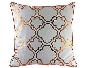 43 x 43 cm Metallic Gold Foil Moroccan Quatrefoil Tiles Vintage Look Cushion Pillow Cover