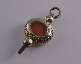 Gold Cased Victorian Watch Key With Carnelian And Agate (513r)