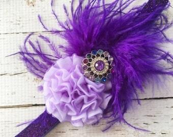 Forehead Feather Headband - Purple Glitter Headband for Girls - Third Birthday Headband - Flapper Headband for Girl - Baby Feather Head Band