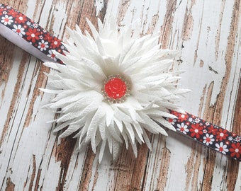White Floral Headband - Flower Headband Photo Prop - White and Red Flower Headband - Summer Head Band - Baby Headband for Spring and Summer