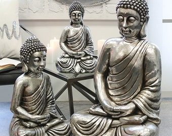 Buddha statue, antique silver color, decoration. Height 16.1 inches