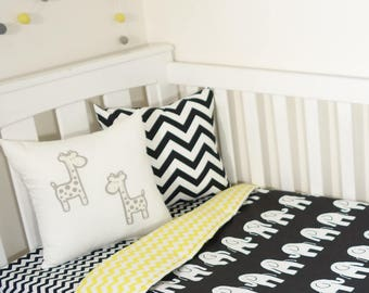Black and yellow chevron, elephant nursery set items