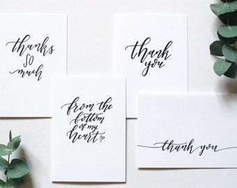 Multipack of 'Thank you' cards - assorted designs - hand lettered typography