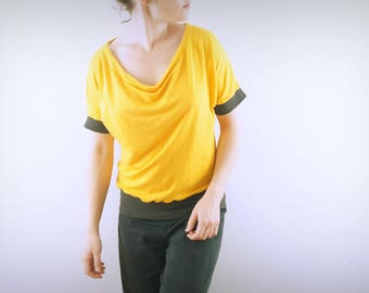 t-shirt collar stoup in yellow flax and carbon in hemp and organic cotton