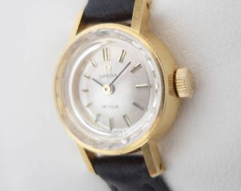 Omega 18 k solid gold De Ville 1968 with box (sapphire glass) 17mm reference BA 511.0227 ladies watch caliber 484