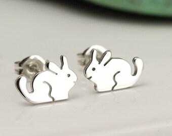 Sterling Silver Chinchilla Earrings - Chinchilla Stud Earrings - Chinchilla Gift
