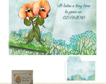 PRINTABLE It Takes A long Time To Grow An Old Friend Flower Seed Pocket Card