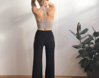 Black Comfortable Lightweight Wide Leg Yoga Dance Pants • Spandex + Polyester