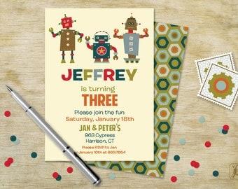 Three Robots Birthday Invitation | Three Robots Printable Invitation | Digital Invitation | Printable .PDF