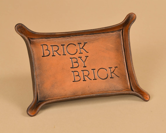 Custom Message Hand Carved Leather Tray