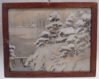 ANTIQUE SILK PAINTING Signed Characters Stamp Seal Wood Glass Framed Asian Art Japan China Snow Falling Landscape Bridge Snow Capped Trees