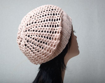 ivory crochet women hat summer hat Slouchy beanie gift for mom womens beanie slouchy cotton slouchy cotton Beanie cotton hat pastel hat