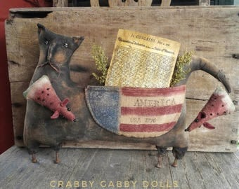 Primitive Patriotic Cat with Watermelon Mice