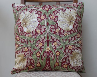 "William Morris Pimpernel Red Cushion Cover 16"" x 16"" - Sanderson Fabric"