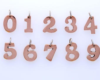 Copper Number Charms, Hand Crafted, Choice of Number