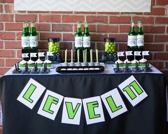 Video Gamer Printable Level Banner - gray chevron - black and lime green lettering