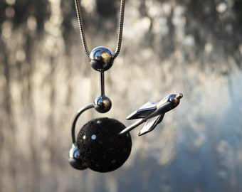 Rocket - Sterling Silver and  Lava Stone Necklace.