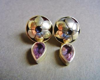 Vintage Lori Bonn sterling amethyst earrings, Lori Bonn sterling amethyst earrings, Lori Bonn sterling earrings, sterling amethyst earrings