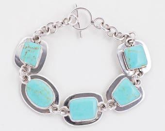 Vintage Bracelet - Vintage Sterling Silver Turquoise Link Bracelet