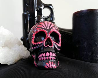 Hand painted dia de los muertos/day of the dead candle  pink