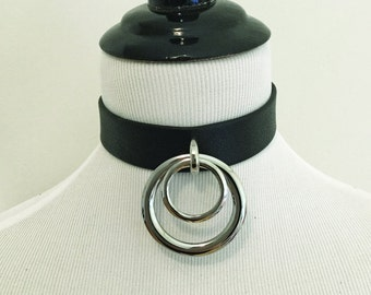 The ADORNED Collar: Black Leather Double O Ring Choker  - BDSM, Nugoth, Minimalist, Fetish, Industrial