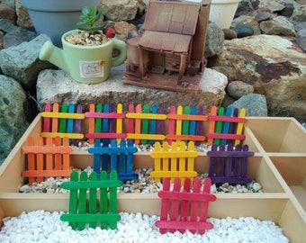 2x Fairy Garden Miniature Fences, Terrarium, Decorations, Fairies Display, Succulent, Accessories, Supplies, Figurines, Ornament, Rainbow