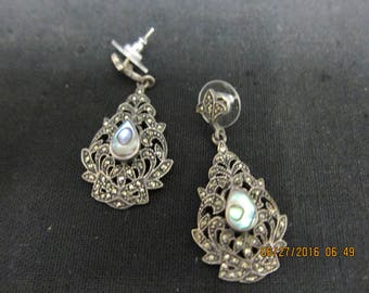 Sterling Silver (.925) Pierced Ear Filigree Drop Earrings
