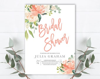 floral bridal shower invitation, peach and green bridal shower. peach and cream floral invitation, rustic bridal shower, boho bridal shower
