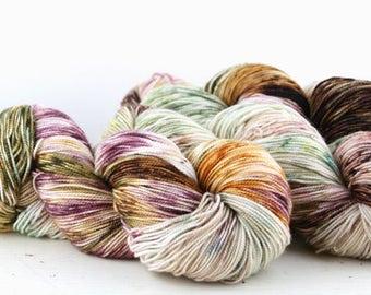 Hand dyed yarn,  80 / 10 / 10%  Super wash Merino / Cashmere / Nylon, sock yarn, 400 yards, Bird Tracks #28 Light