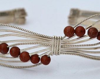 Red Jasper and sterling wire bracelet