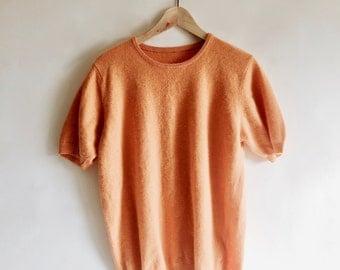 1990's Vintage Tangerine Merino Wool Angora Blend Sorbet Orange Short Sleeve Sweater Size Medium/Large
