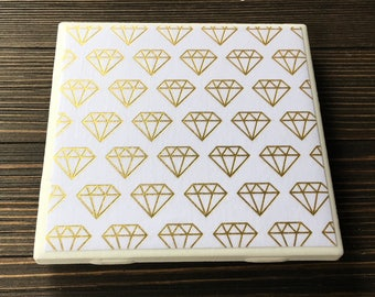 Gold Foil Diamond Coasters, Diamond Coasters, Set of 4 Coasters