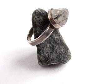 Tourmalated Quartz Ring - Vintage - 925 Sterling Silver - Small Ring
