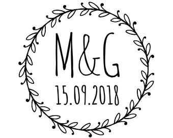 "Personalised Circle Laurel Wreath Stamp, custom initials & date stamp, wedding card and favours stamp, DIY stationery, 1.8""x1.8"" (cts180)"