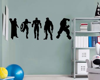 The Avengers Wall Decal - The Hulk, Thor, Ironman, Captain America, Wolverine Superhero Wall Decal Silhouettes
