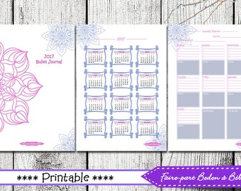 Mandala - Mandala journal - Bullet journal - 2017 Planner - Organizer - Agenda - Printable Planner - Journal Printable - english and french