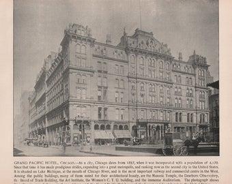 Chicago Illinois Masonic Temple, Grand Pacific Hotel, Prints from 1892 Photographs of Famous Scenes by Charles H. Adams