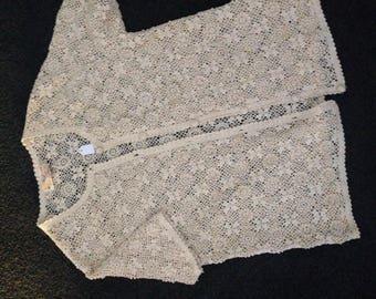 Vintage cream crochet cardigan
